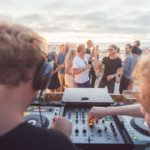 rooftop terrace djs sunset at the Surfers Lodge Peniche